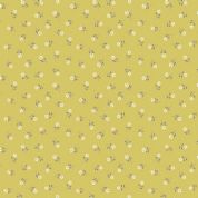 Lewis & Irene Flo's Little Flowers - 4990 - Tiny White Flowers on Chartreuse - FLO1-3 - Cotton Fabric